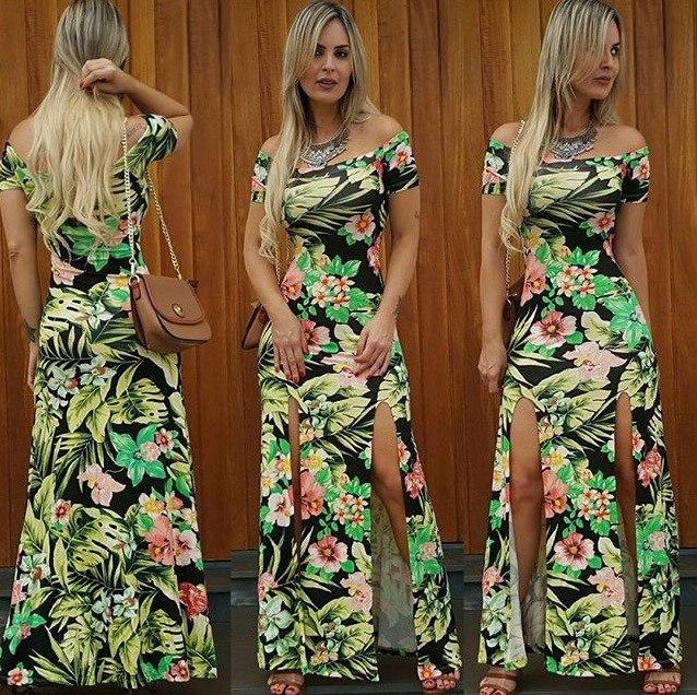 modelo de vestido longo estampado com fenda