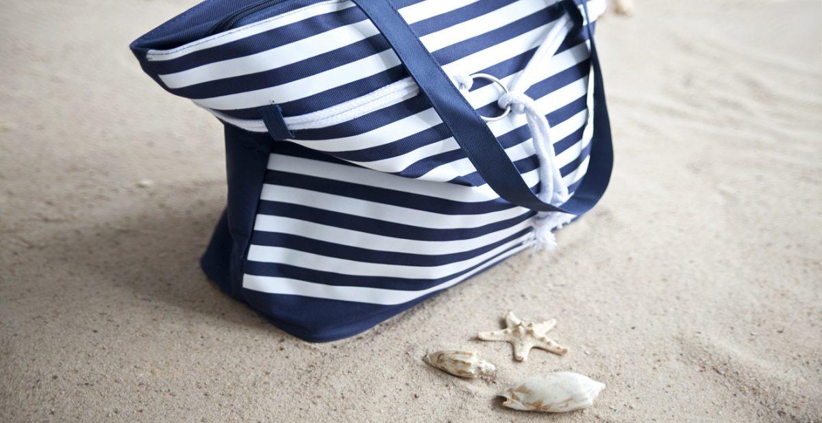 bolsa de praia de tecido listrado