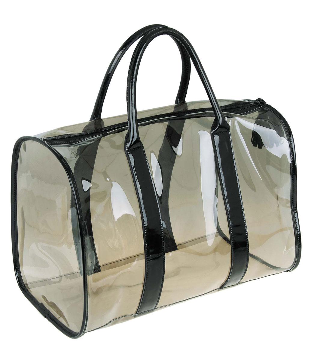 bolsa de praia transparente com preto