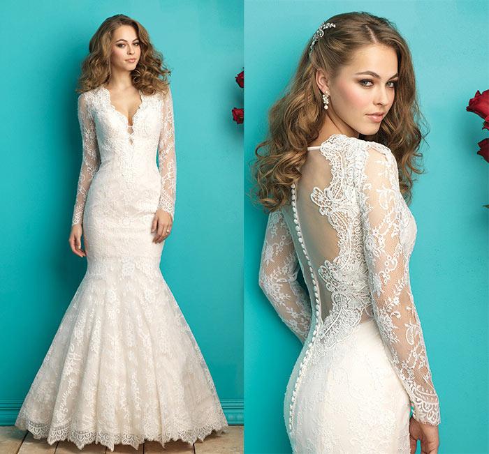 modelo de vestido de noiva sereia com manga