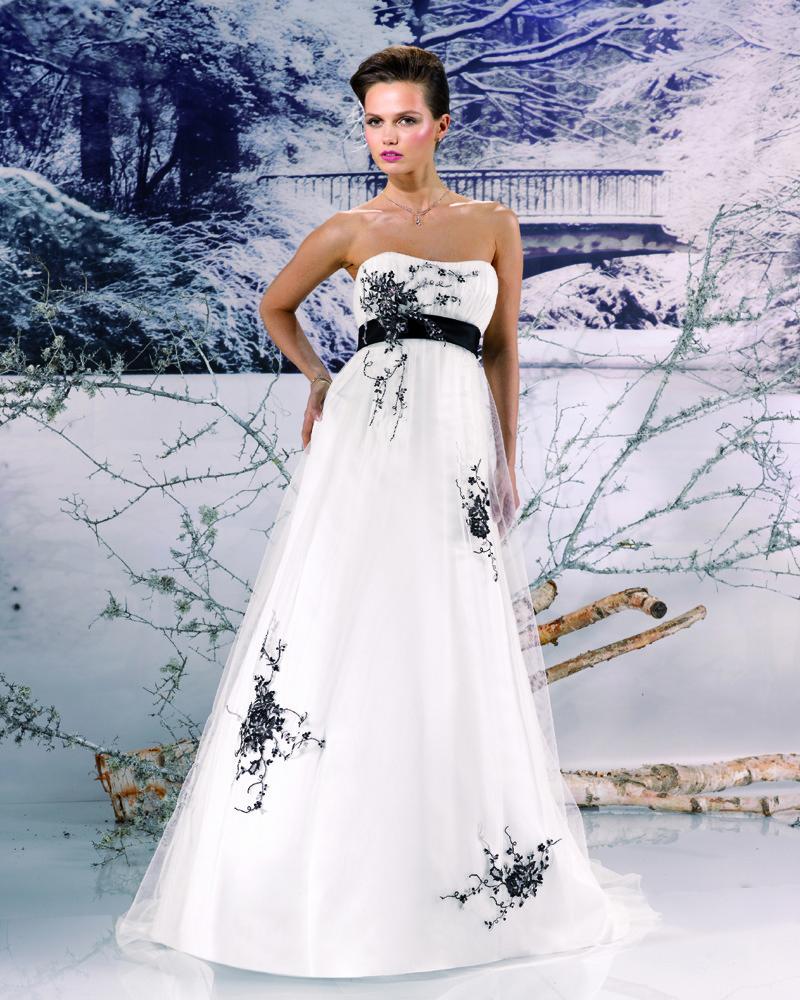 vestido de noiva tomara que caia preto e branco