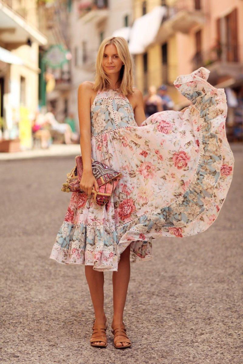 vestido midi rodado