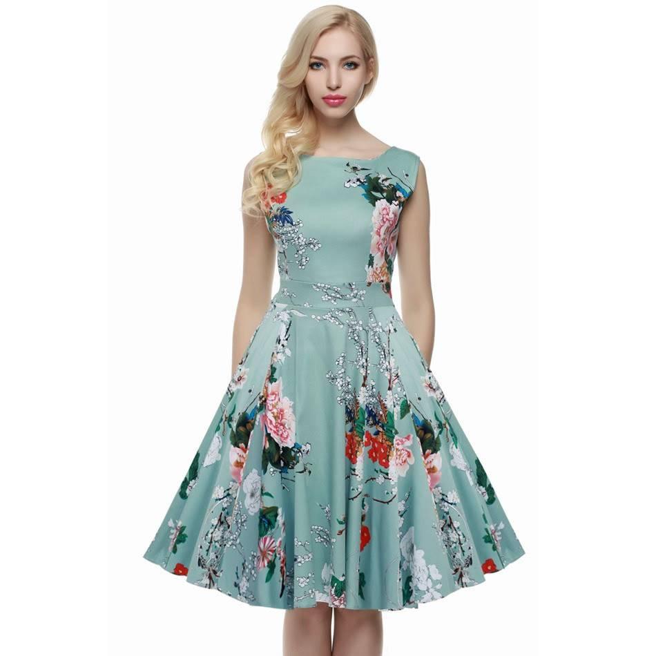 vestido midi estampado rodado