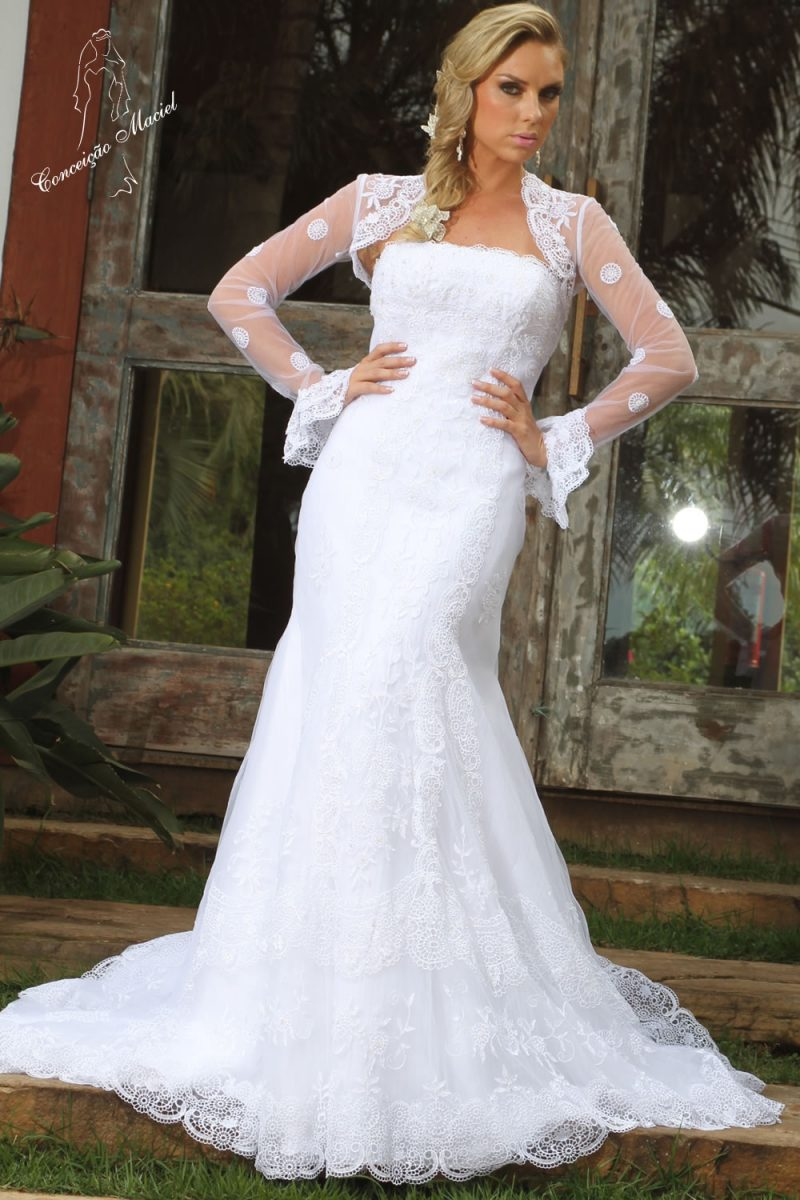 vestido de noiva tomara que caia com bolero