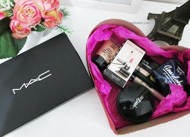 Presente de amigo secreto para mulher cesta chocolate maquiagem