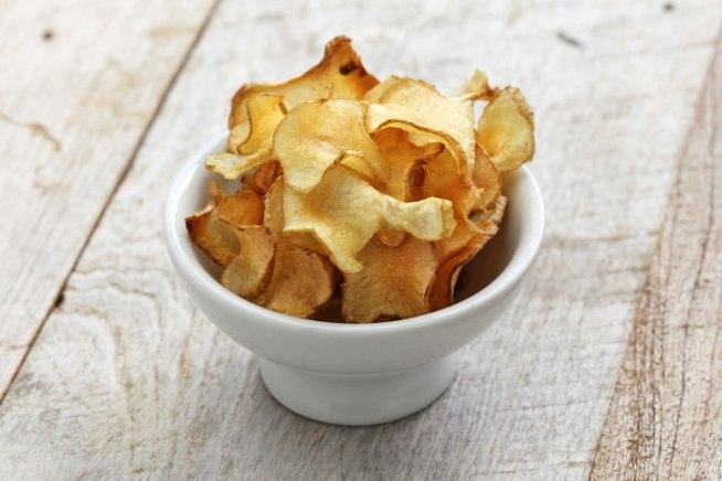 Lanches funcionais chips de batata doce