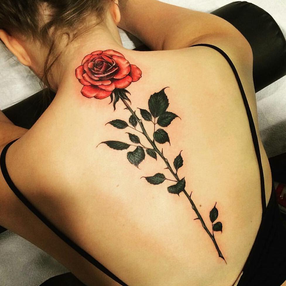 Tatuagens femininas nas costas rosa com espinhos