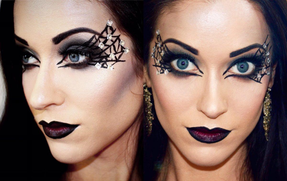 maquiagem de bruxa teia de aranha