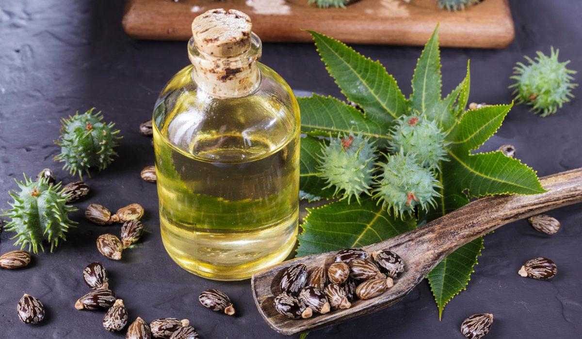 frasco de óleo de rícino