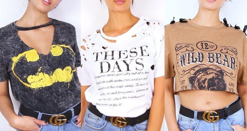Customização de camiseta: Dicas incríveis com renda, pedras, pérola, bordados e mais..