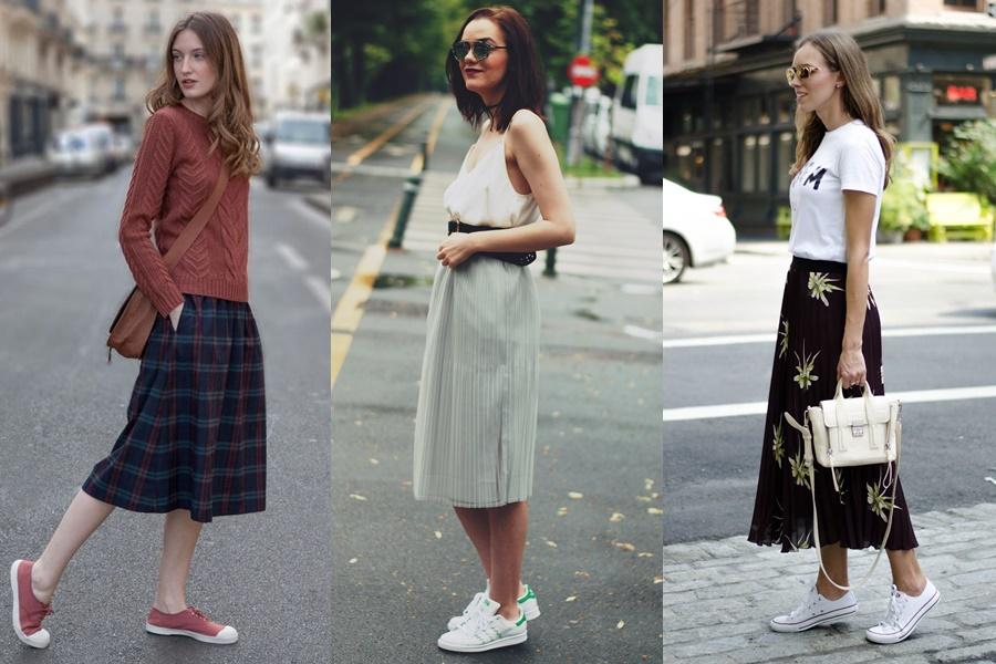 mulheres vestindo saia midi com tenis