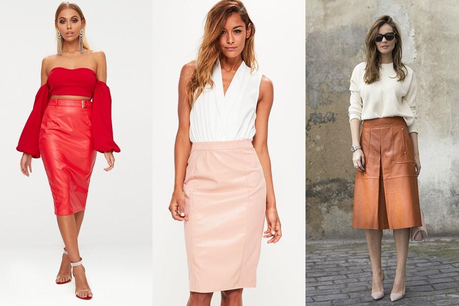 mulheres vestindo saia midi de couro