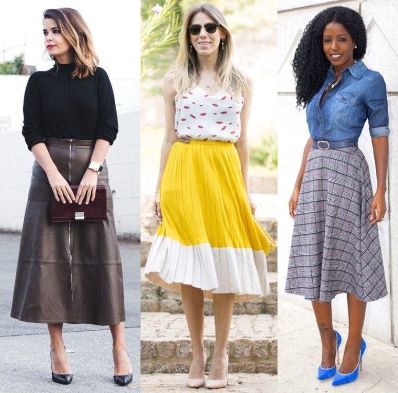 mulheres vestindo saia midi evase