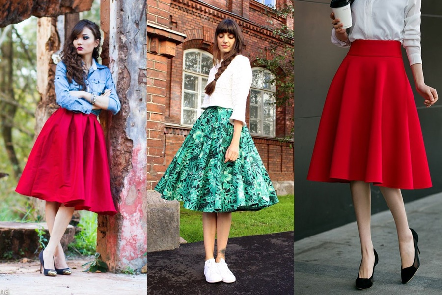 mulheres vestindo saia midi gode rodada