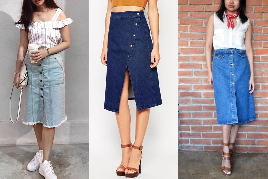 mulheres usando saia midi jeans