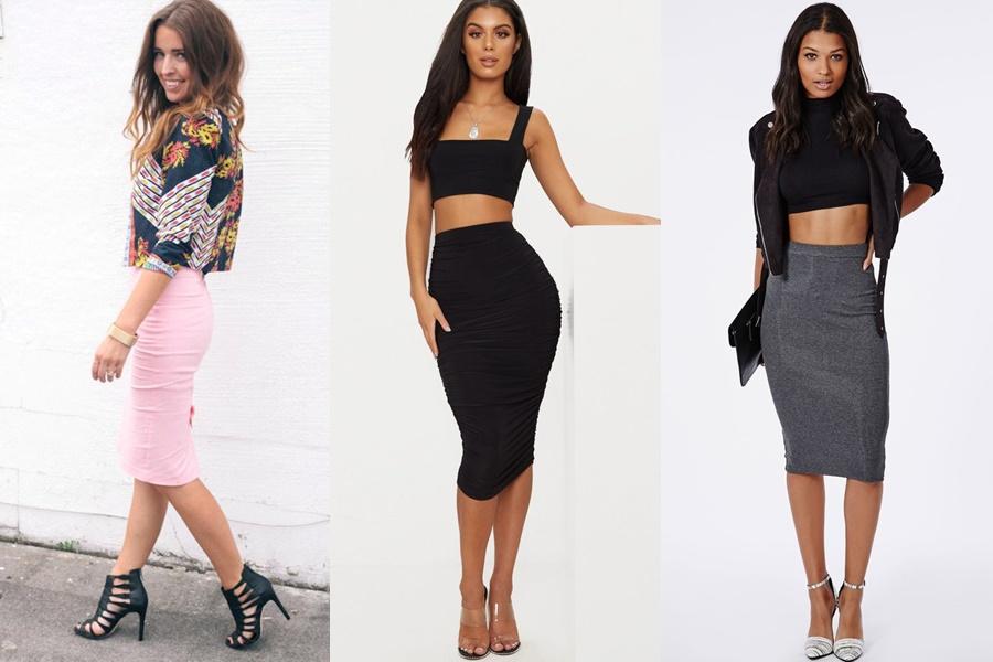 mulheres vestindo saia midi justa