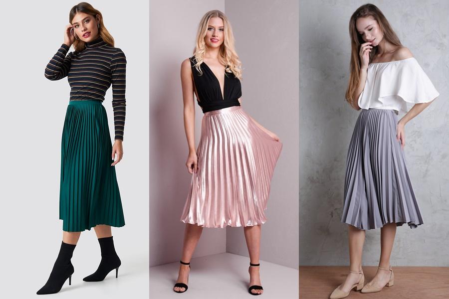 mulheres vestindo saia midi plissada