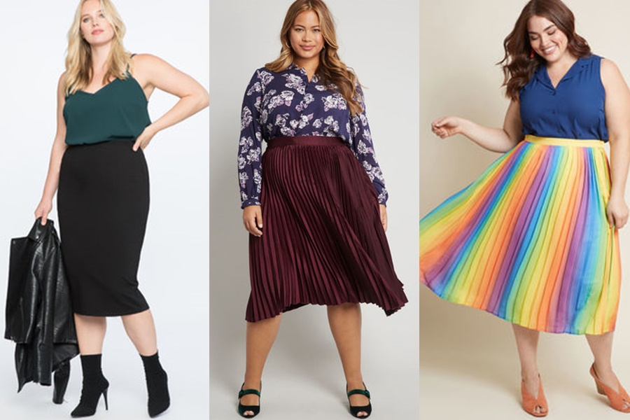 mulheres vestindo saia midi plus size