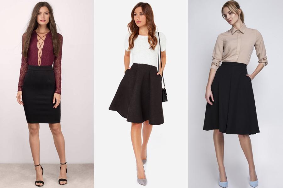 mulheres vestindo saia midi preta