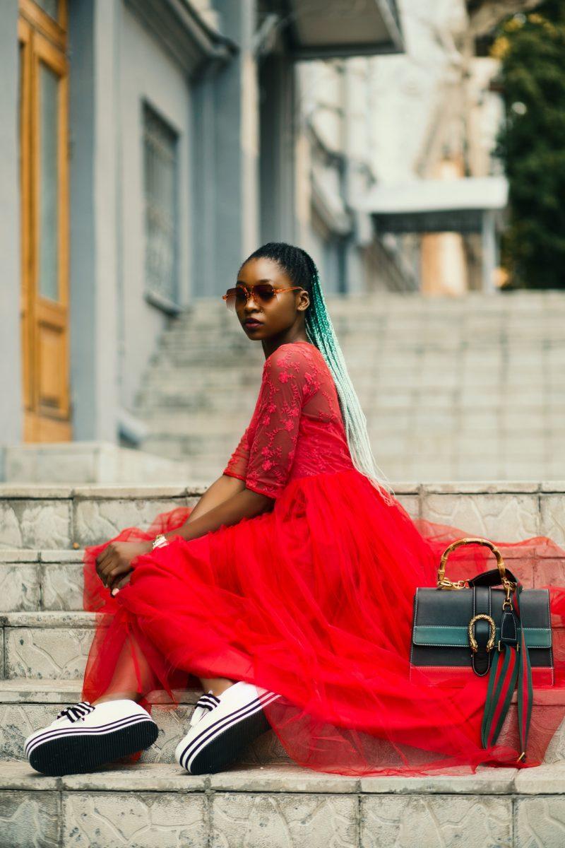 vestido vermelho rodado