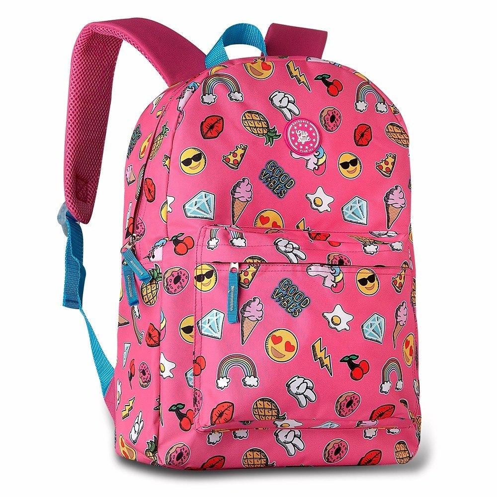 mochila feminina rosa para escola