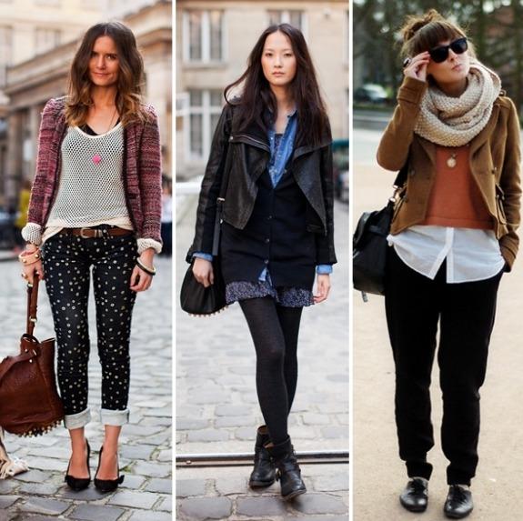 três composições roupas de inverno
