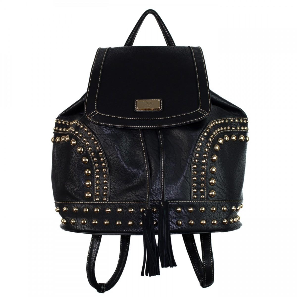 mochila feminina de couro preto