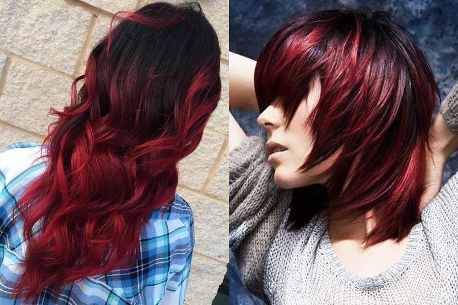 mulheres que optaram por mechas ombré hair vermelha