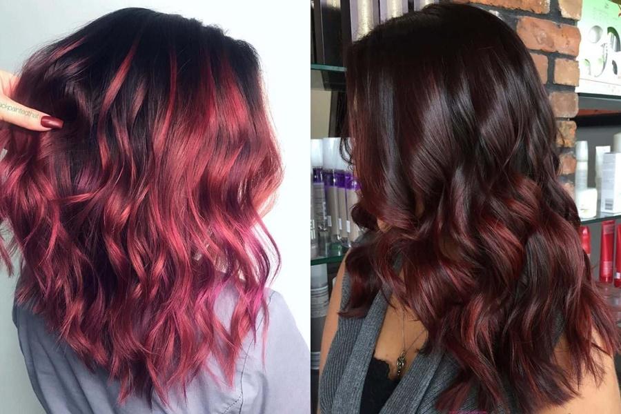 modelos de cabelos com mechas ombré hair vermelho