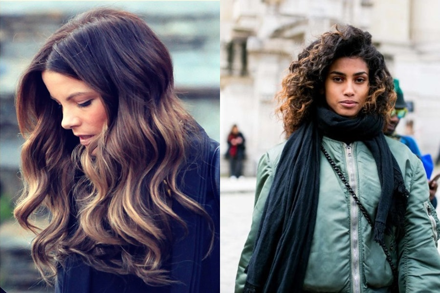 exemplos de ómbre hair em cabelo preto