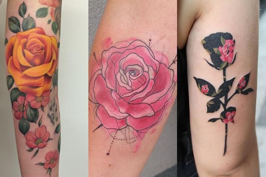 tatuagens coloridas de rosas no braço