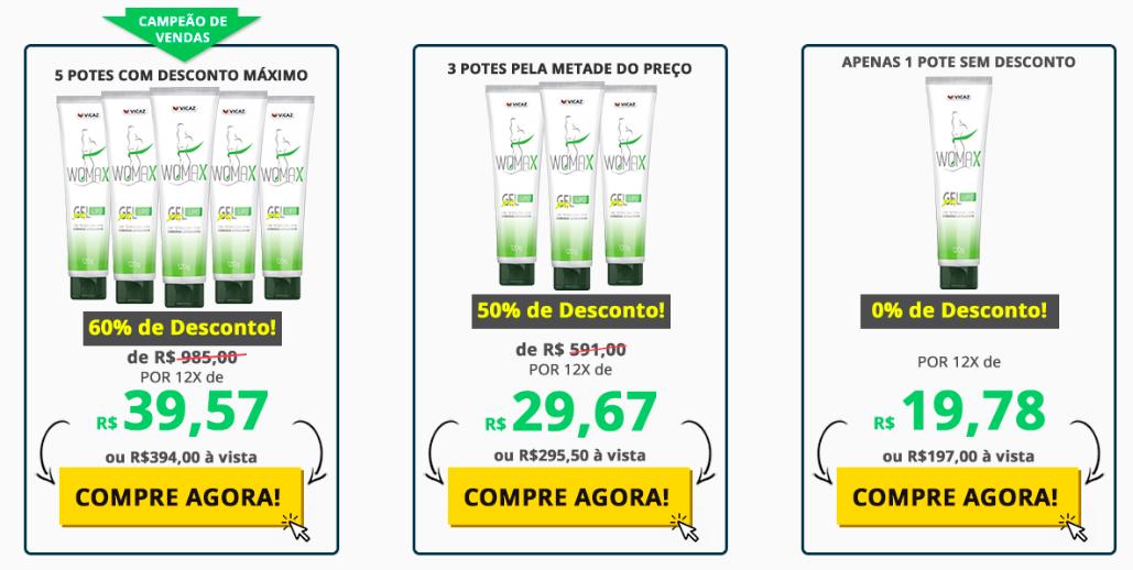 preços do womax gel