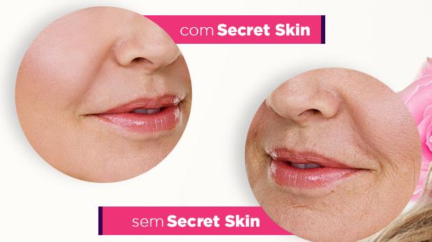antes e depois de usar secret skin