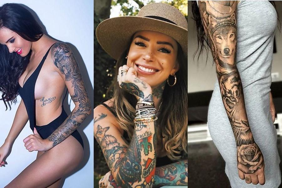 3 exemplos de mulheres com o braço todo fechado de tatuagem