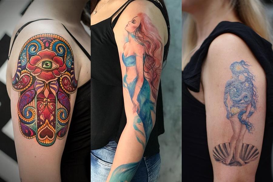 tatuagens coloridas no braço grandes e marcantes