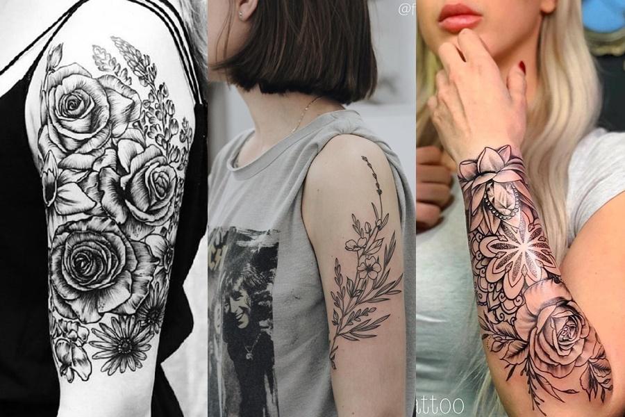 tattoo de rosas e ramos no braço