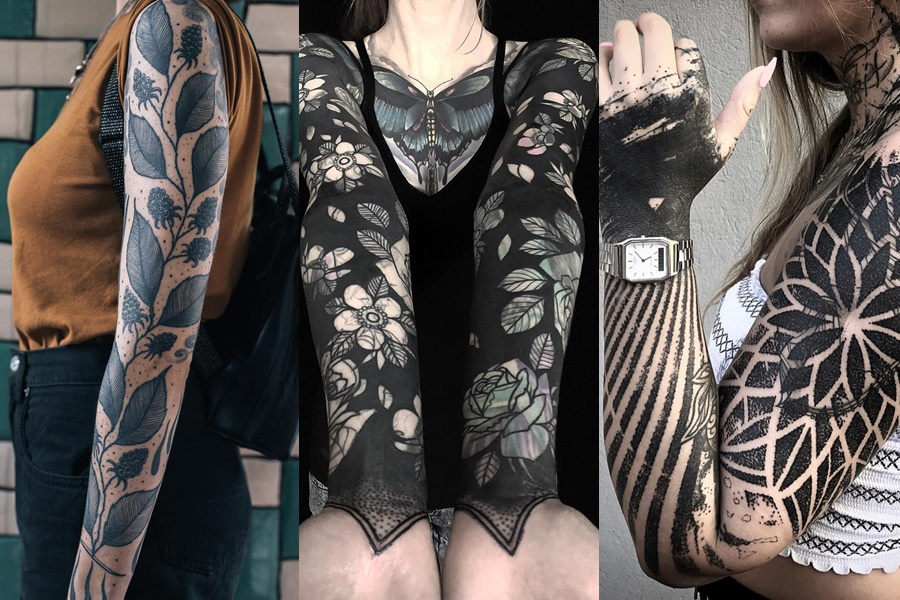 mulheres com braço fechado de tatuagem de flores e folhas