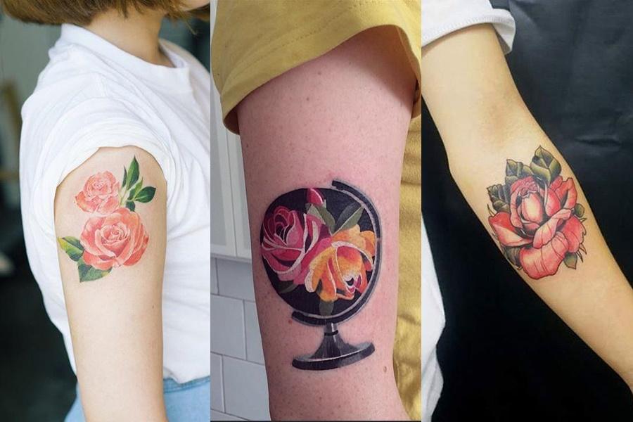 tatuagens de rosa no braço