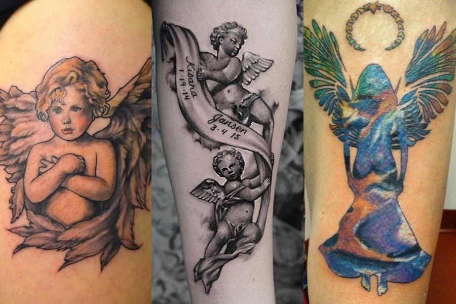 exemplos de tatuagens femininas de anjo colorido e preto e branco
