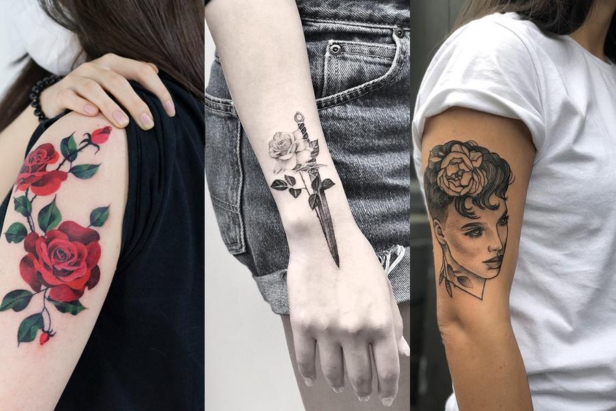tatuagens de rosas de diversas formas
