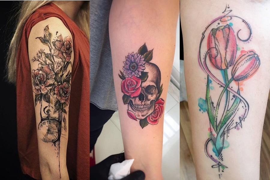 exemplos de tatuagem no braço de flores e rosas