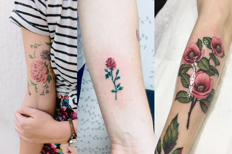 tatuagens coloridas e delicadas de rosas e flores no braço