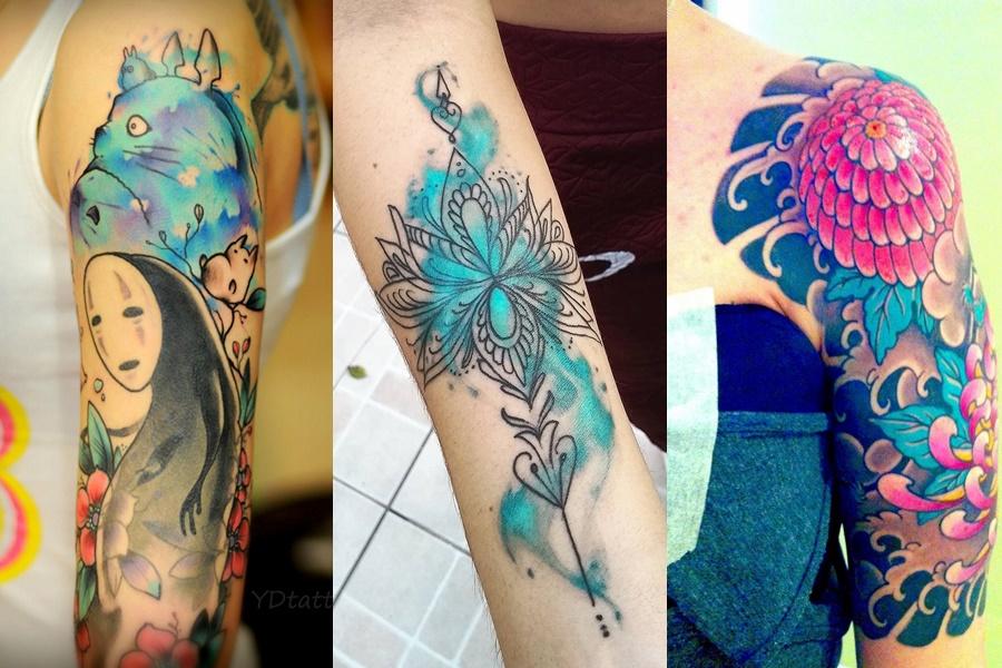 tattoos no braço coloridas de flores e desenhos
