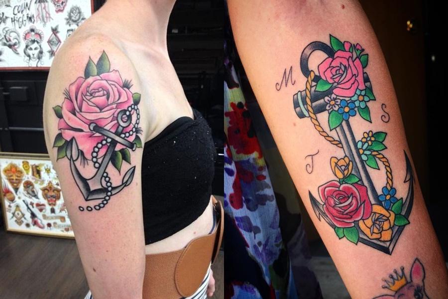 tatuagens de âncora com flores