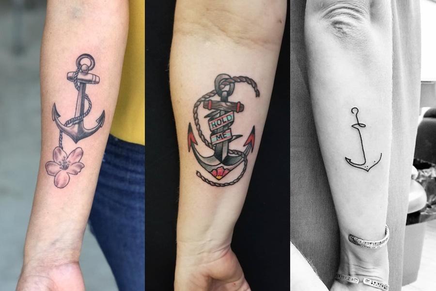 três tatuagens de âncora no braço