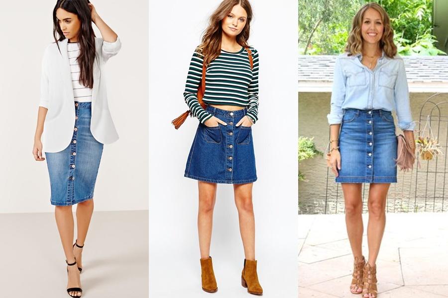 mulheres vestindo saia jeans com botoes