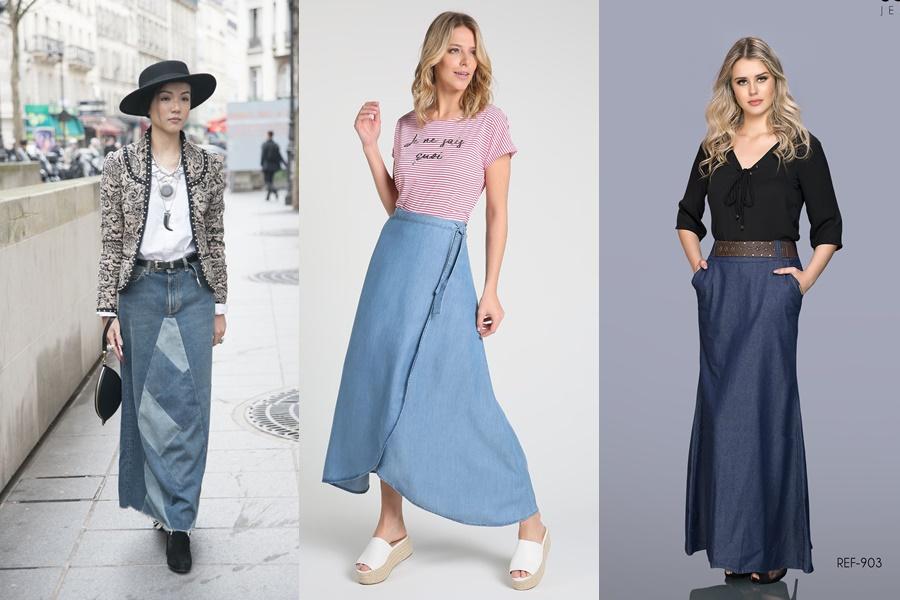 mulheres usando saia jeans longa