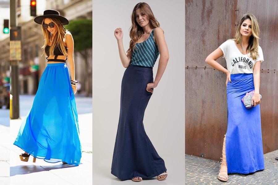 mulheres vestindo saia azul