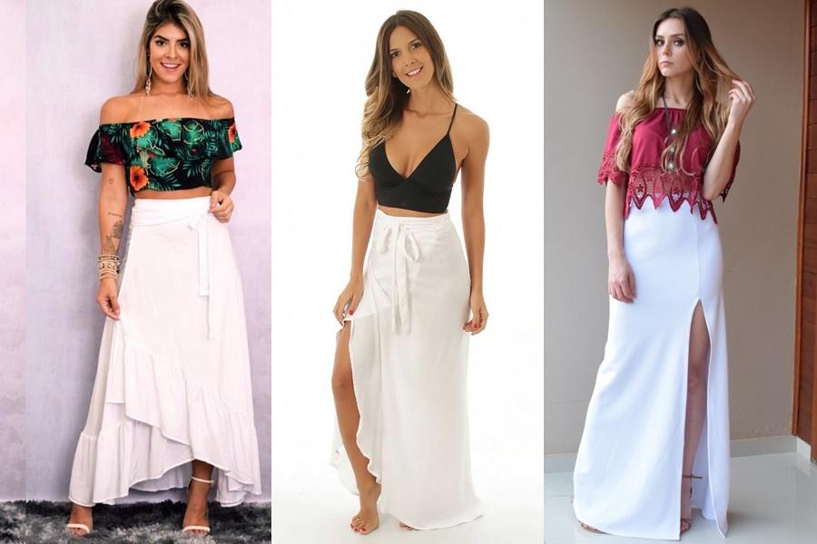 exemplos de modelos de saias longas brancas
