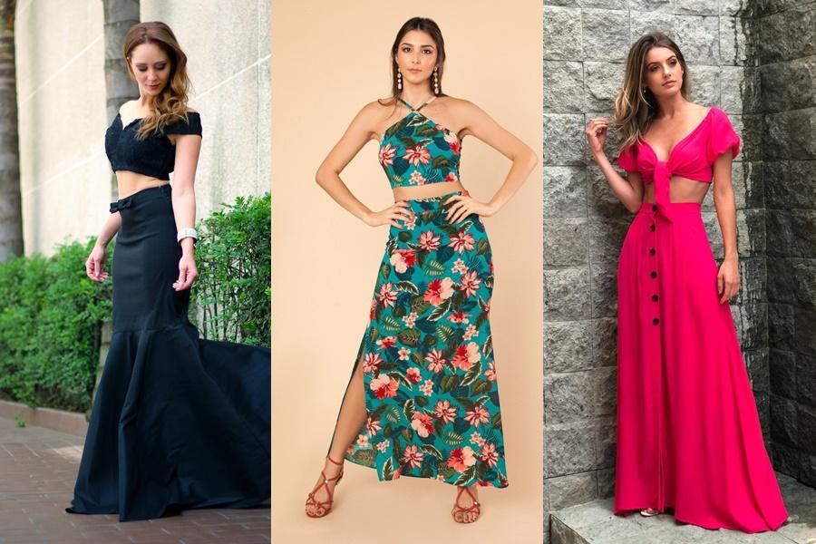 exemplos de modelos de saia longa com cropped